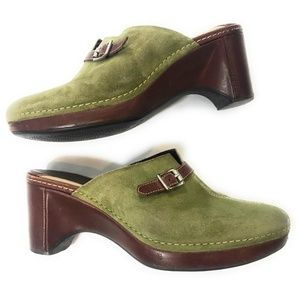 Cole Haan Womens Clog Mules Green Brown, Size 8.5